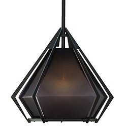 "Harlow Pendant Light (Small/Smoked Gray/Blackened Steel/12"" Stem) - OPEN BOX RETURN"