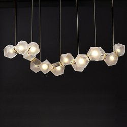 Welles Glass Long LED Chandelier