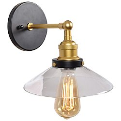 The District LED Retro Wall Sconce (Black & Gold) - OPEN BOX