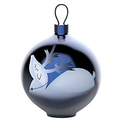 Blue Christmas Reindeer Ball Ornament