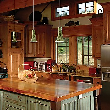 Pistachio lined over kitchen island
