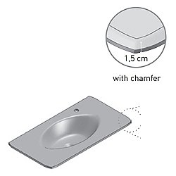 Glass Vanity Top with Chamfer 47 Inch - Float Glass