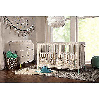 Gelato 4-in-1 Convertible Crib with Toddler Bed Conversion with Gelato 3 Drawer Changer Dresser