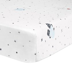 Galaxy Floating Robots Fitted Crib Sheet