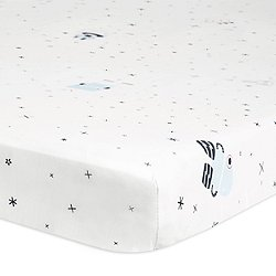 Galaxy Floating Robots Fitted Mini Crib Sheet