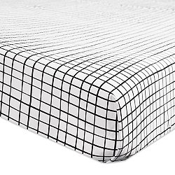 Tuxedo Monochrome Grid Fitted Crib Sheet