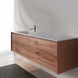 45 Degree 55-Inch Wall-Mounted Vanity and Sink
