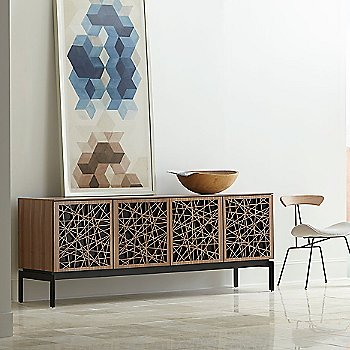 Natural Walnut finish / Triple-Width size / Ricochet Doors Pattern / Design / Console Base option