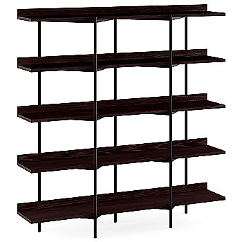Charcoal Stained Ash Shelves / Black Frame finish / 5 Tier