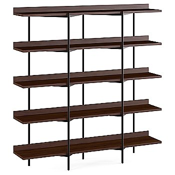 Chocolate Stained Walnut Shelves / Black Frame finish / 5 Tier