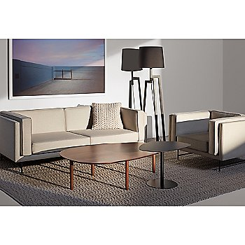 Swole Small Side Table with Swole Large Coffee Table, Bank 80-Inch Sofa, Stilt Floor Lamp, Bank Lounge Chair and Gam Gam Pillow