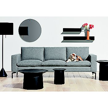 Coco Side Table with Flask Floor Lamp, Coco Coffee Table, Flange Decorative Vessel and New Standard Sofa