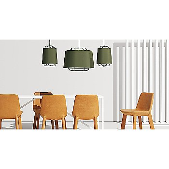 Neat Leather Dining Chair with Perimeter Large Pendant Light, Perimeter Small Pendant Light and Strut Table