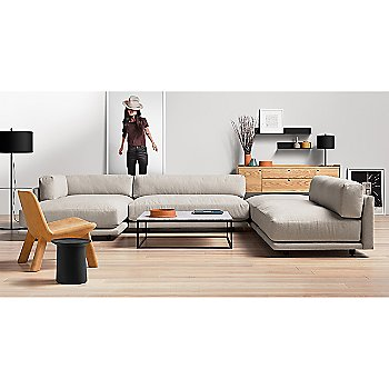 Neat Leather Lounge Chair with Coco Side Table, Sunday J Sectional Sofa, Minimalista Coffee Table, Flange Decorative Bowl, Peek 2 Door, 2 Drawer Consolea and Flange Decorative Vessel