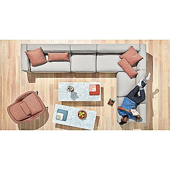 Signal Pillow with Flange Decorative Vessel, Sunday J Sectional Sofa, Field Lounge Chair, Flange Decorative Bowl, 100 Percent Trays and Signal Rectangle Pillow
