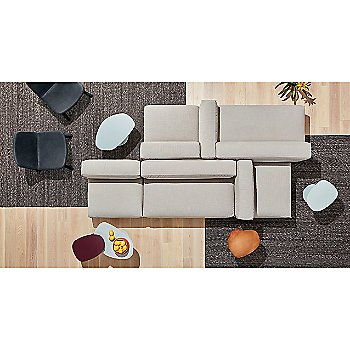 Swole Small Side Table with Flange Decorative Bowl, Neat Leather Dining Chair, Cleon Armless Sofa, Cleon Ottoman and Cleon Sofa Arm Cushion
