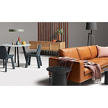 New Standard Leather Chair with Mima Pillow, Turn Low Side Table, Turn Tall Side Table, Turn Coffee Table, New Standard Sofa and Hecks Ottoman