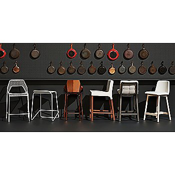 Wicket Smoke Counterstool with Ready Counter Stool, Hot Mesh Counter Stool, Real Good Stool, Chip Leather Stool and Knicker Counterstool