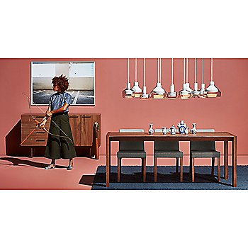 Second Best Wood Dining Table with Trace 2 Pendant Light, Trace 3 Pendant Light, Trace 4 Pendant Light and Shale 4 Drawer/1 Door Credenza