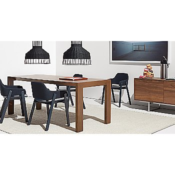 Second Best Wood Dining Table with Laika Medium Pendant Light, Clutch Lounge Chair, Uni Rug and 100 Percent Trays