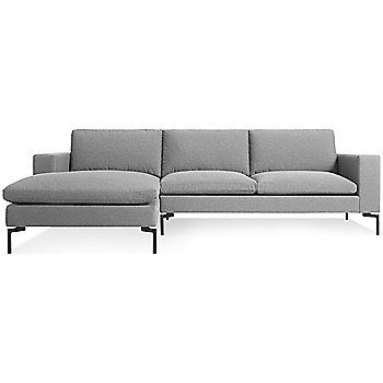 Shown in Spitzer Grey, Black Leg finish, Left Arm Chaise