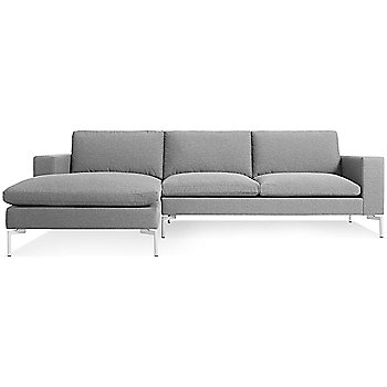 Shown in Spitzer Grey, White Leg finish, Left Arm Chaise