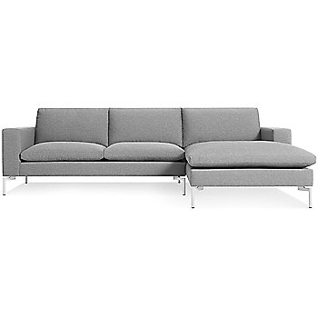 Shown in Spitzer Grey, White Leg finish, Right Arm Chaise