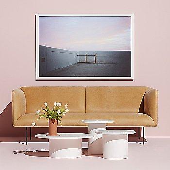 Plateau Side Table with Plateau Coffee Table, Dandy Leather Sofa, Flange Decorative Vessel and Plateau Medium Table