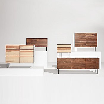 Pictured with the Clad 2 Door Credenza, the Clad Nightstand and the Clad 3 Door Credenza