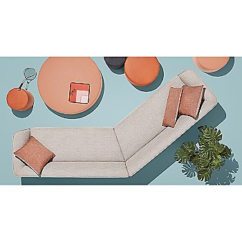 24 Inch Square Pillow with 100 Percent Trays and Bumper Ottoman and 13 x 30 Inch Rectangular Pillow and Thataway Angled Sectional Sofa