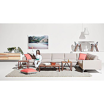 2D:3D Medium Bowl with 2D:3D Large Bowl, Laika Medium Plus Pendant Light, Clad 4 Drawer Dresser, Strut Wood Side Table, 24 Inch Square Pillow, lutch Lounge Chair and Easy Dining Table