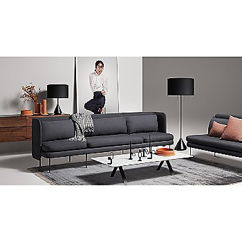 Clad 4 Drawer Dresser with Flask Table Lamp, Flange Decorative Bowl, Flange Decorative Vessel, Super Rectangular Coffee Table, Flask Floor Lamp and New Bloke Sofa