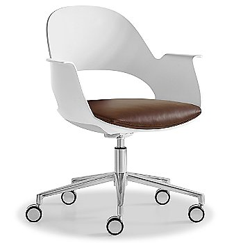 Mist / Polished Aluminum with Essential Leather / Brownstone upholstered seat