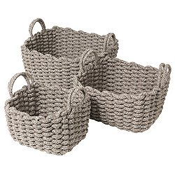 Corda Crochet Basket, Set of 3, Light Brown