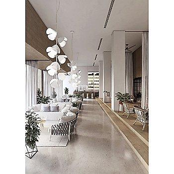 White/Perforated White, 9 light, illuminated