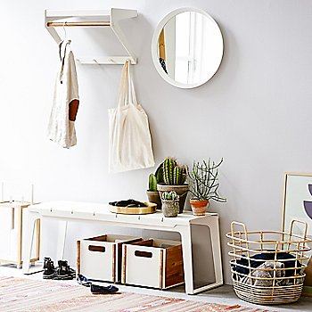 Copenhagen Bench with Box Storage Box, Round Club Tray and Sweep Rattan Basket (sold separately)