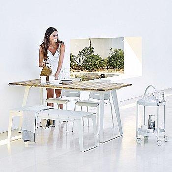 Copenhagen Bench with Copenhagen Table and Roll Trolley