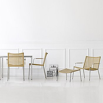 Natural pictured with the Straw Round Weave Footstool, Straw Round Weave Dining Chair with Arms and Pure Square Table (sold separately)