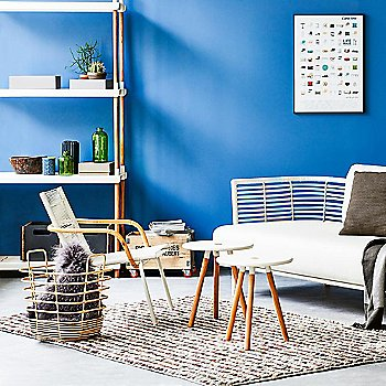 White pictured with the Sense 3 Seater Sofa, Sidd Lounge Chair, Box Storage Boxes, Area Tablestools and Sweep Rattan Basket (sold separately)