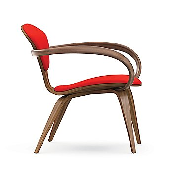 Cherner Lounge Chair with Arms / Upholstered / Natural Walnut / Side View