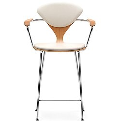 Cherner Seat and Back Upholstered Metal Base Stool Armchair