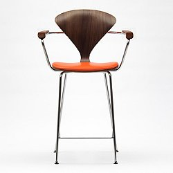 Cherner Metal Base Stool Armchair with Seat Pad
