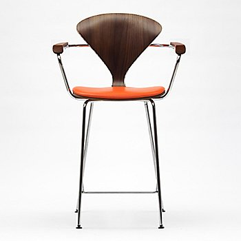 Shown in Classic Walnut Seat model, Sabrina Leather Robotic Orange upholstery