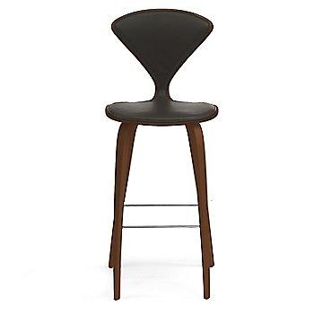 Natural Walnut Seat, Chrome Base finish / Upholstery Selection Vincenza Leather VZ-BLCK