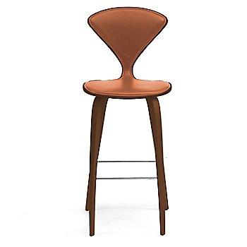 Natural Walnut Seat, Chrome Base finish / Upholstery Selection Sabrina Leather Robotic Orange