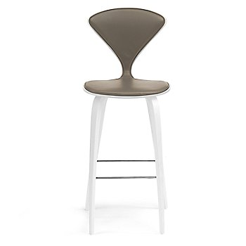 White Lacquer Seat, Chrome Base finish / Upholstery Selection Vincenza Leather VZ-2101