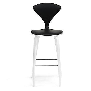 White Lacquer Seat, Chrome Base finish / Upholstery Selection Sabrina Leather Black