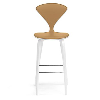 White Lacquer Seat, Chrome Base finish / Upholstery Selection Sabrina Leather Monarch