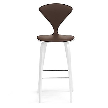 White Lacquer Seat, Chrome Base finish / Upholstery Selection Sabrina Leather Coffee Bean