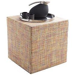 Mini Basketweave Turquoise Cube Pouf